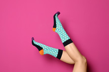 Woman Wearing Bright Socks On ...