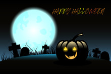 Halloween Pumpkins On Blue Moon Background, Illustration
