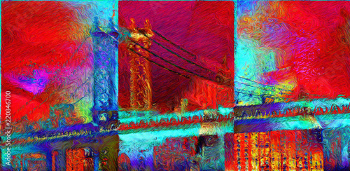 Photo Stands Cuban Red Manhattan bridge