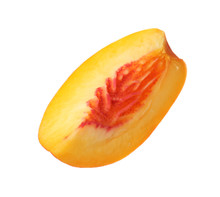 Slice Of Juicy Peach On White Background