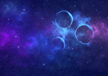 Planets In Outer Space With Nebula And Stars