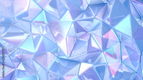 Blue crystal background..3d illustration, 3d rendering. Wallpaper Mural