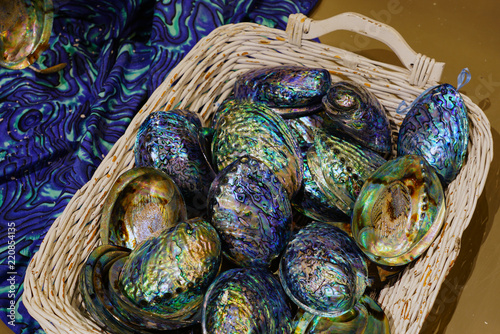 Canvas Print A basket of blue and green mother-of-pearl abalone paua shell in New Zealand