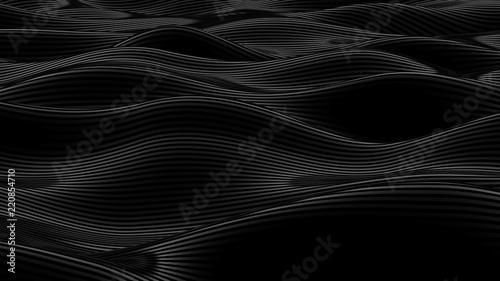 Fototapeta Luxury black drapery fabric background. 3d illustration, 3d rendering. obraz na płótnie