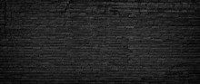 Black Brick Wall, Texture Of Dark Brickwork Close-up