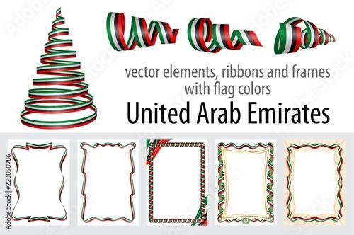 Fotografie, Obraz  vector elements, ribbons and frames with flag colors United Arab Emirates, templ