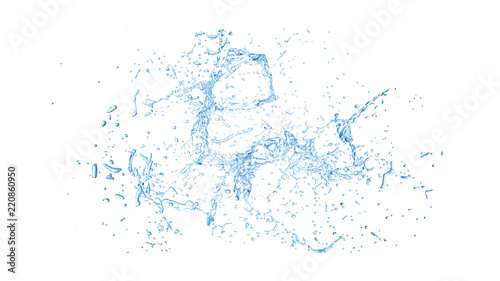 Obraz Isolated blue splash of water splashing on a white background. 3d illustration, 3d rendering. - fototapety do salonu