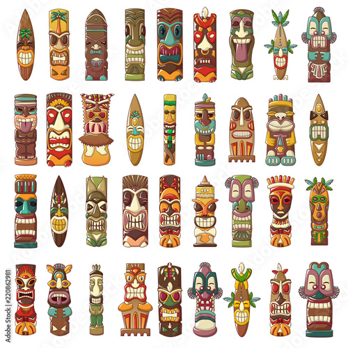 Tiki idols icon set. Cartoon set of tiki idols vector icons for web design
