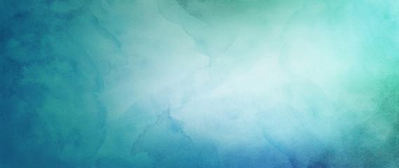 niebieskie zielone i białe tło akwarela z abstrakcyjnym pojęciem pochmurnego nieba z kolorowym wzorem splash i fringe krwawić plamy i plamy