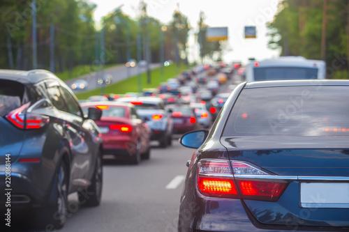 traffic on the Central city street during rush hour Fototapeta