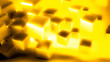 canvas print picture - Bright yellow background with golden cubes, 3d illustration, 3d rendering.
