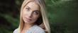 Leinwanddruck Bild - Beautiful woman face. Blue eyes.