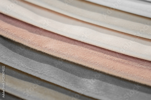 Tuinposter Stof Catalog of multicolored cloth from matting fabric texture background, silk fabric texture, textile industry background