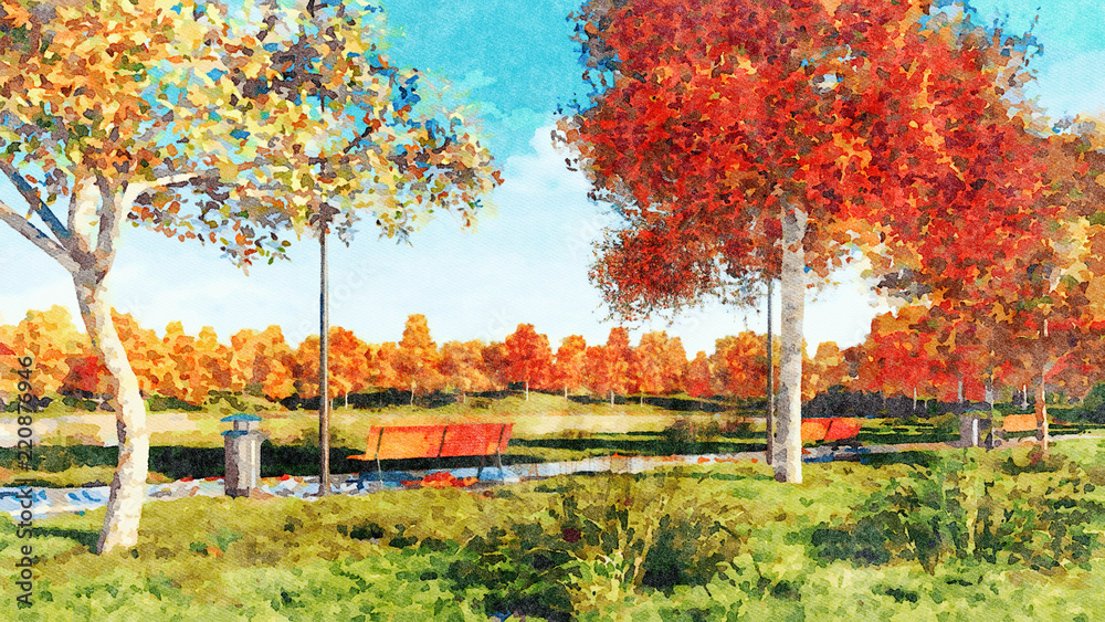 Decorative autumn landscape in a watercolor style with lush colorful autumnal trees and empty benches on walkway in a city park at sunny day. Digital art painting from my own 3D rendering file.