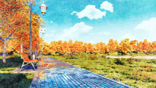 Scenic Autumn Landscape In A Watercolor Style With Lush Colorful Autumnal Trees And Bench On Empty Park Alley At Daytime. Digital Art Painting From My Own 3D Rendering File.