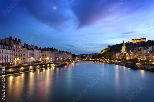 Deurstickers Centraal Europa Lyon blue hour