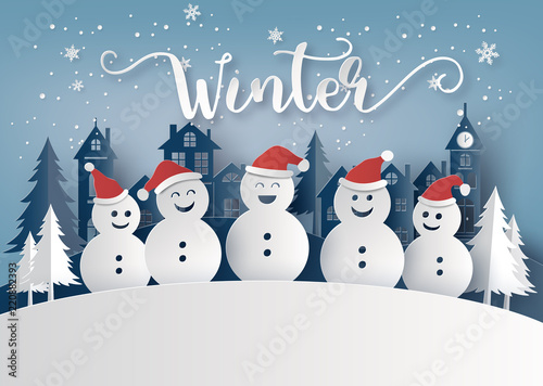 Foto  Winter season and Merry Christmas with snow man