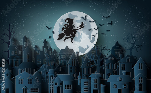 Foto Witch riding a broom flying in the sky over the abandoned village