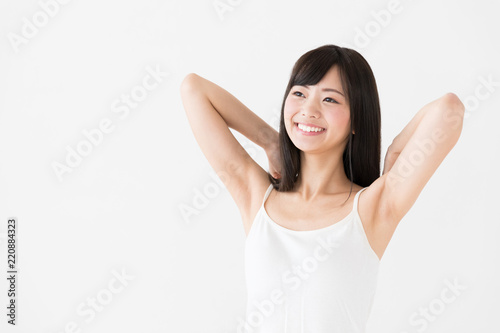 attractive asian woman on white background