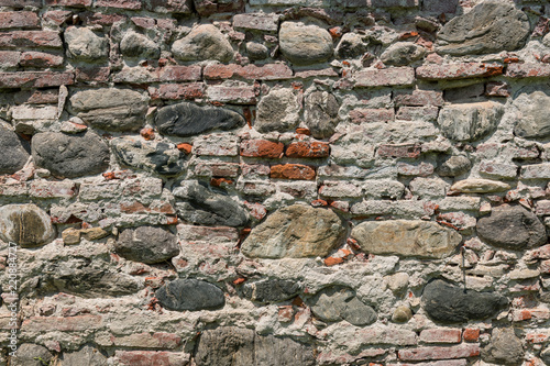 Foto op Plexiglas Wand Rough old brick and stone wall texture