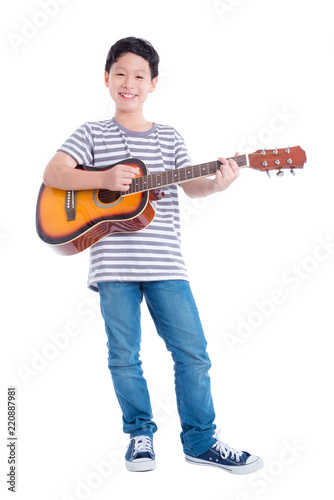 Asian boy guitar