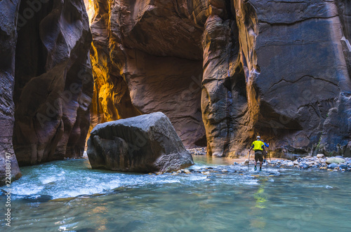 Foto op Plexiglas Chocoladebruin beautiful of narrow in the afternoon in Zion National park,Utah,usa.