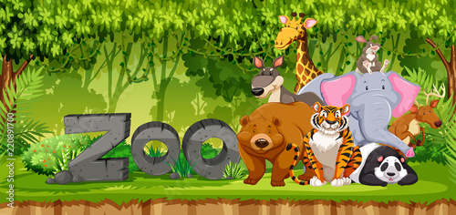 Recess Fitting Ladybugs Set of zoo animals in jungle