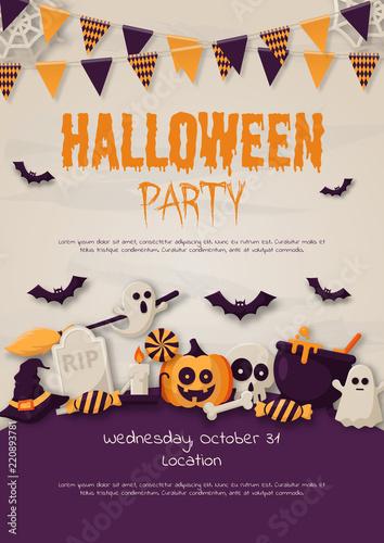 Spoed Fotobehang Halloween Happy Halloween Party Poster with pumpkins, ghosts, candy, witch broom, bats, cobwebs, skulls, bones, headstones, witch hats. Paper art style. Vector Illustration