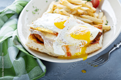 Fotografie, Obraz  Sunny side up egg sandwich