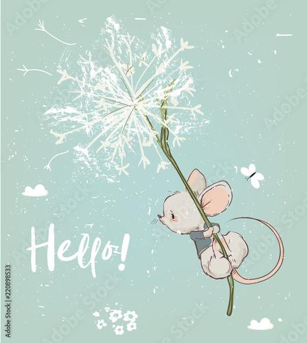 Naklejka premium słodka mysz urodzinowa latająca z kwiatami