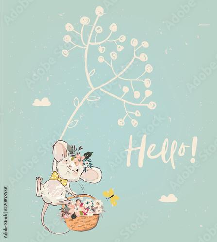 Fototapeta premium słodka mysz urodzinowa z kwiatami
