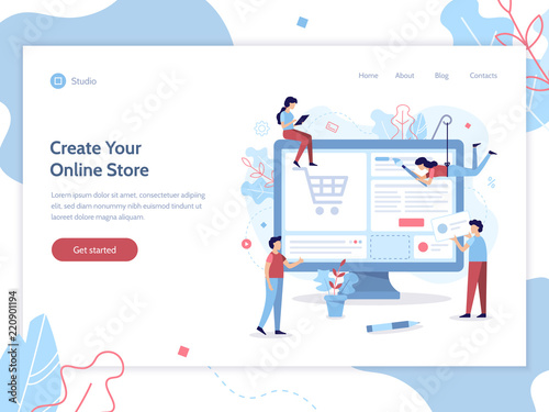 Web Banner Design Template A Team Of Web Developers Design An Online Store E Commerce Project Website Development Flat Vector Illustration Buy This Stock Vector And Explore Similar Vectors At Adobe Stock