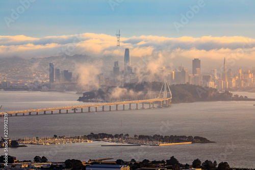 View from Grizzly Peak in Berkeley Hills onto Bay Bridge and San Francisco with Fototapeta