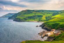 Scenic Landscape Of Green Coastline At Torr Head, Antrim, Northern Ireland. Causeway Coastal Route