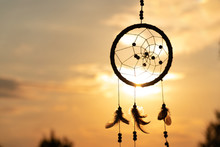 It's A Native American Dream Catcher And Golden Rays Of The Sunset. Beautiful Calming Scenery. Infuse Positive Thoughts, Like A Pleasant Wind Melody