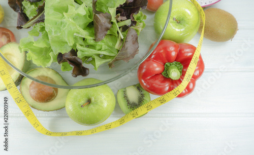 Healthy Salad Diet Food On White Wooden Background Top View Props
