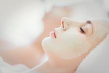 Closeup Face Beautiful Woman On Bed Spa