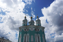 The Beautiful Assumption Cathedral In Smolensk, Russia On A Background Of The Cloudy Sky. Look Up.