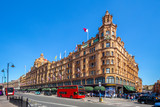 Fototapeta Londyn - street view of london with famous department stores