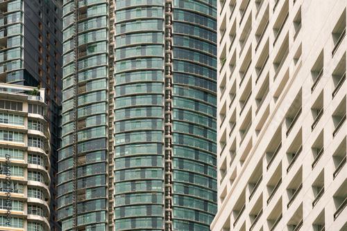 Deurstickers Stad gebouw Facades of skyscrapers, close-up