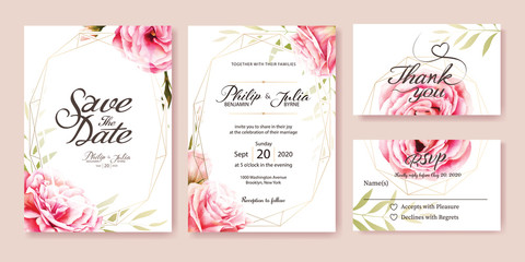 Wedding Invitation, save the date, thank you, rsvp card Design template. Vector. Pink rose, olive leaves. Watercolor style.