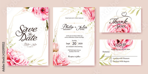 Fotografie, Obraz  Wedding Invitation, save the date, thank you, rsvp card Design template