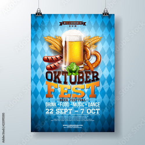 Photo Oktoberfest party poster illustration with fresh lager beer, pretzel, sausage and wheat on blue and white Bavaria flag background
