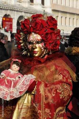 Stickers pour porte Delhi Maskierte, Carneval in Venedig, Venetien, Italien, Europa