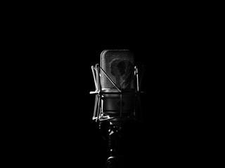 Studio Music Microphone Close Up In Sound Recording Studio