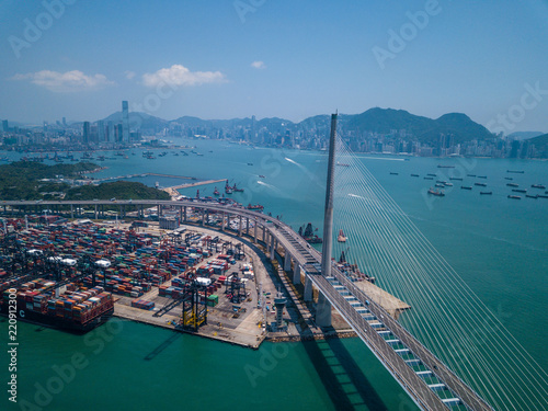 Tuinposter Poort Top view over Kwai Tsing Container Terminals in Hong Kong city