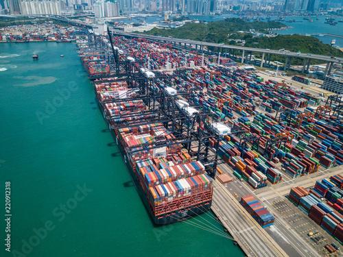 Spoed Foto op Canvas Poort Hong Kong terminal port