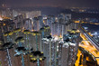 Hong Kong residential building architecture at night