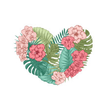 Exotic Flowers And Leaves Heart Shape. Tropical Style. Vector Illustration