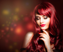 Redhead Woman With Makeup, Lon...